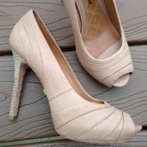 LAMB tan leather peep toe stilettos 7